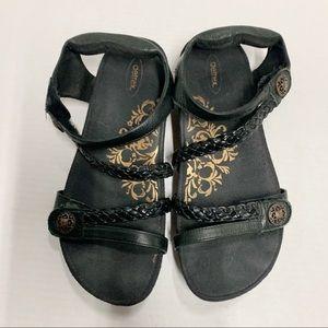 Aetrex Jillian Braid Velcro Strap Sandals In Black